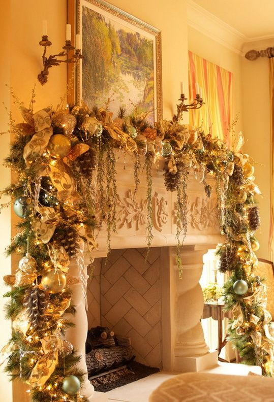 holiday fireplace mantel decorating ideas 8 - Decorating Fireplace Mantels For Christmas Pinterest