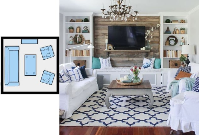 Living room layout with tv